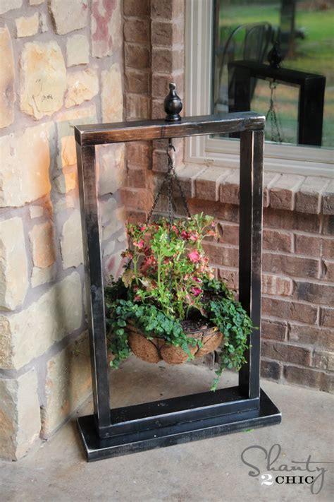 hanging basket wood stand ideer