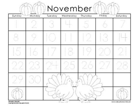 printable calendar numbers for november traceable printable november 2015 calendar november