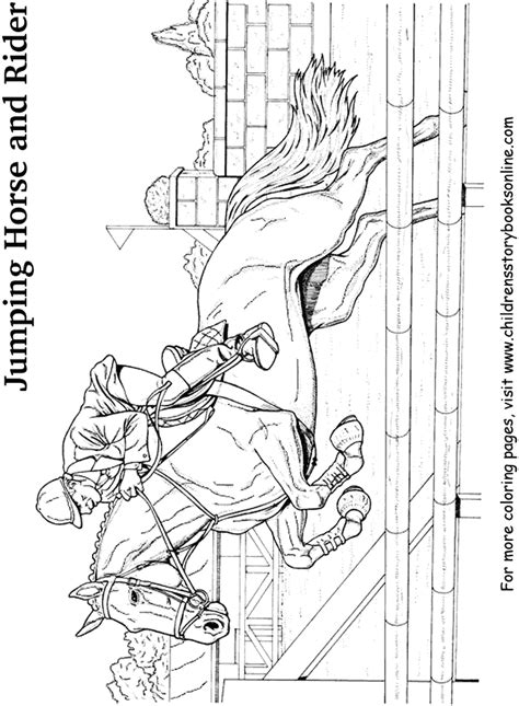 free coloring pages of and rider jumping