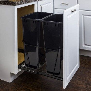 cabinet door trash can with lid waste container base cabinets and hardware on