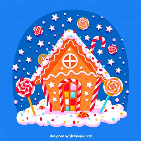 candy christmas house background vector