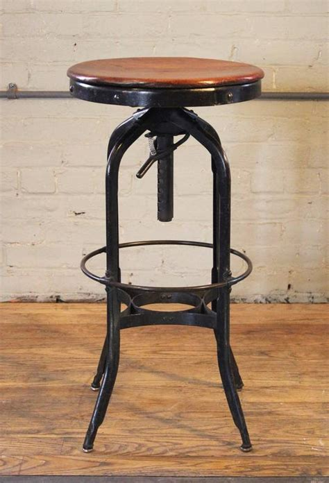 vintage industrial chairs and stools original vintage industrial toledo backless wood and metal