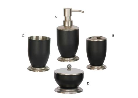 Bath Accessories Sets with Black Coating   Triangle Homeware