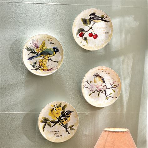 decorative crafts for home modern bird flower decorative wall dishes porcelain