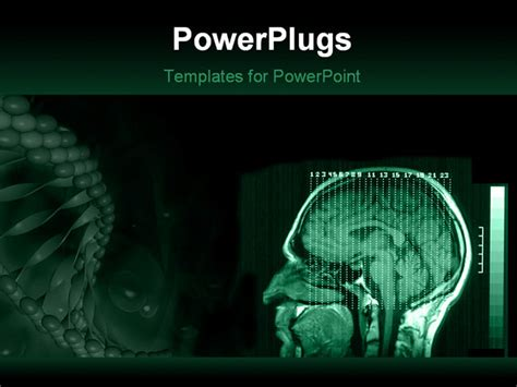 Powerpoint Template A Human Brain Mri With Greenish Background And Place For Text 3993 Brain Powerpoint Templates Free