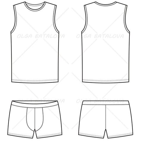 top templates s boxer brief tank top fashion flat template