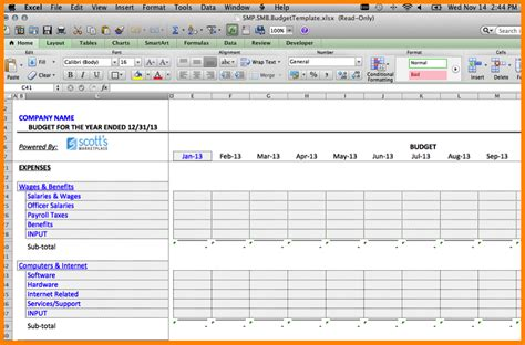 6 operating budget template monthly bills template