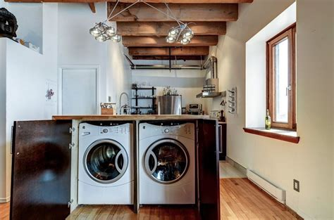 laundry kitchen functional space combination small