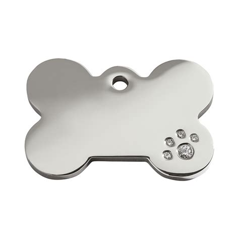 pet tags diamante polished stainless steel bone id tag by dingo barkery