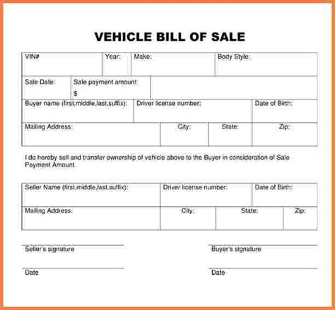 7 free vehicle bill of sale template simple cash bill