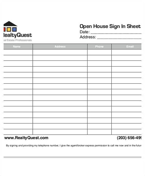 free real estate open house sign in sheet open house sign in sheet templates 10 free pdf documents download free premium