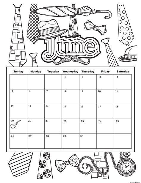 june  calendar summer coloring pages printable