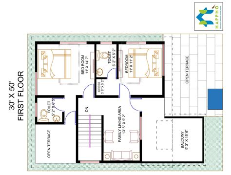 50 square feet 4 bhk floor plan for 30 x 50 plot 1500 square feet 166