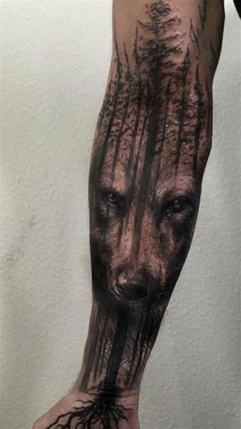 wolf forest tattoo pin by jose r on tree