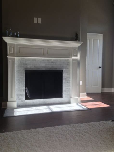 marble subway tile fireplace surround marble subway tile fireplace carrara marble subway