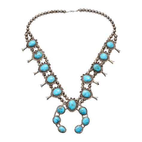 american turquoise squash blossom necklace on