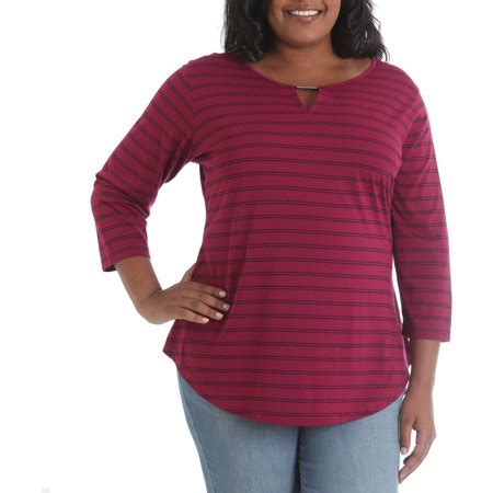 3 4 Sleeve Striped Knit Top riders by s plus 3 4 sleeve striped knit top
