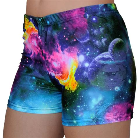 colorful shorts colorful outer space galaxy planets cosmos printed