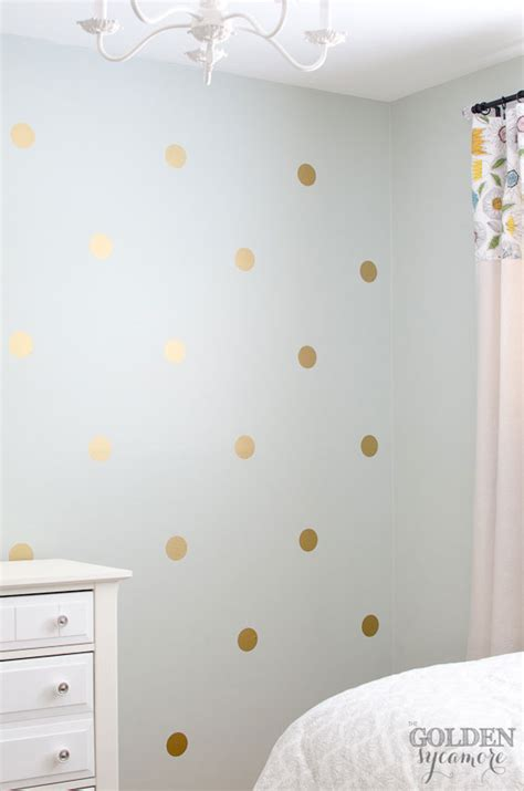 Polka Dot Wall Sticker diy gold polka dot wall the golden sycamore