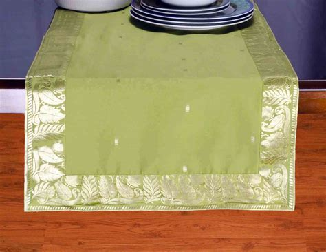 olive green crafted table runner india ebay
