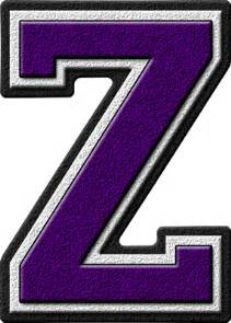 presentation alphabets purple varsity letter z