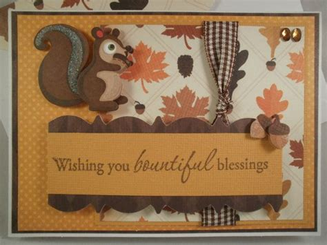 Handmade Thanksgiving Cards - squirrel handmade thanksgiving card with embellished