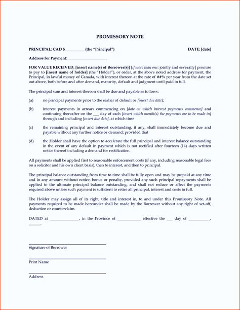 Free Promissory Note Template Word Pdf Promissory Note Template