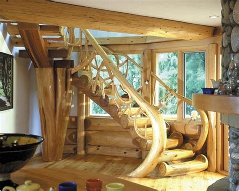 Log Home Basement Floor Plans by Wood Staircase Timber And Logs That Will Look Amazing In
