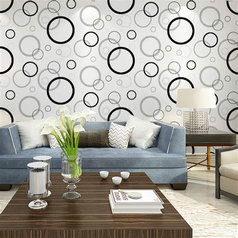 Wallpaper Dinding Korea Motif Salur Classic 3 Roll Besar Aliexpress Buy Haokhome Black White Green Geometric