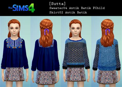Batik Set 1 sutta sims4 clothes child sutta sims4 antik batik set1
