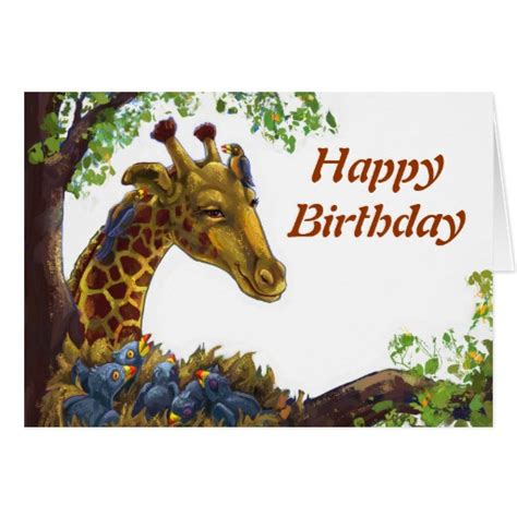 printable birthday cards giraffe giraffe and oxpecker happy birthday card zazzle