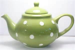 teapot large green polka dot tea pot terramoto ceramic