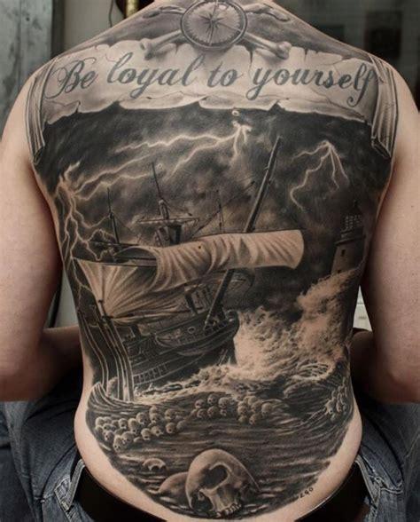 black and grey nautical tattoo black gray nautical full back tattoo inkstylemag