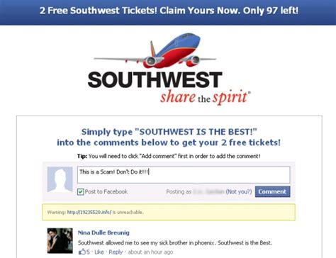 scam alert   southwest airline