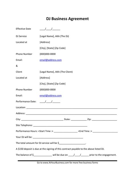 5 Dj Contract Forms Dj Agreement Equipment Rental Performance Booking Form And Etc Dj Equipment Rental Contract Template