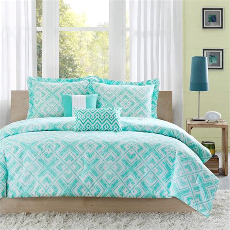 Teal Bedding by Beautiful Chic Light Blue Teal Aqua Green Chevron Stripe