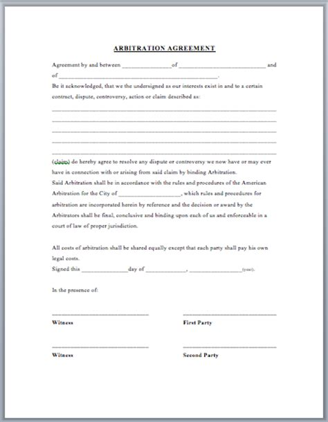 arbitration template arbitration agreement template format template