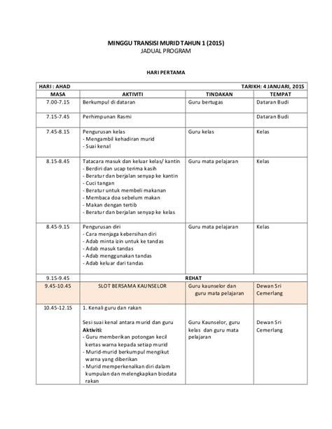 minggu 02 januari 2011 jadual minggu transisi