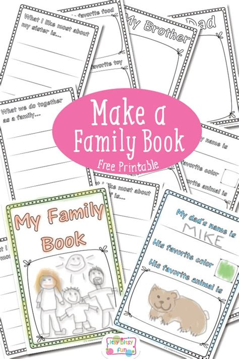 Family Book Free Printable Itsy Bitsy Fun A Children S Book Template