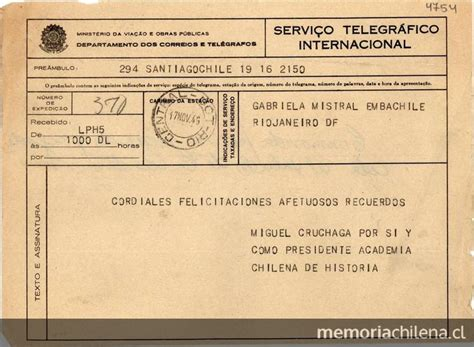 telegrama de renuncia correo argentino taringa ejemplo de telegrama telegrama 1945 nov 17 santiago chile