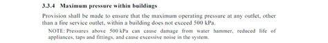 water pressure water hammer and the plumbing code