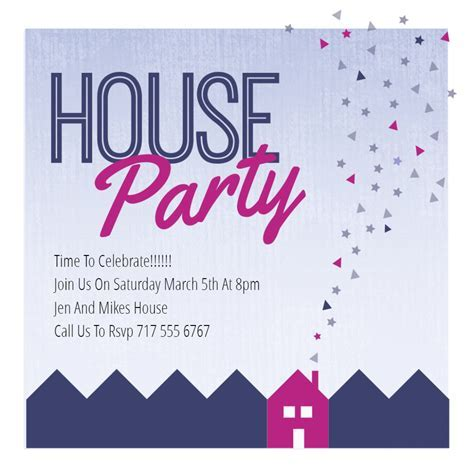 Purple Party Place   House Party Invitation Template (Free