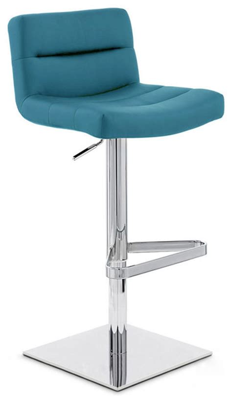 Teal Blue Bar Stools by Teal Lattice Square Base Adjustable Height Swivel Armless
