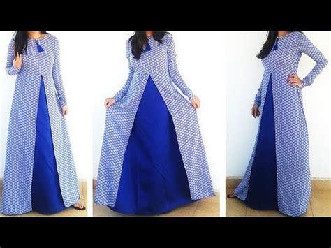 design dress cutting and stitching diy designer frontslit long gown maxi kurti dress cutting