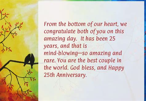 Wedding Anniversary Wishes Or Messages by Happy 25th Wedding Anniversary Wishes