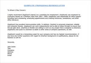 professional reference letter 5 free documents