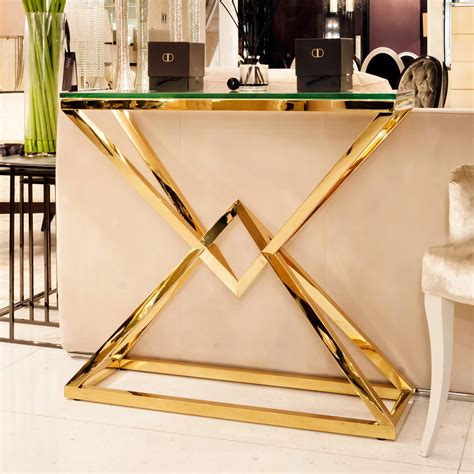Contemporary Gold Glass Console Table