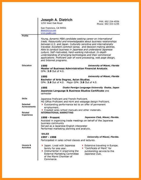 Word 2010 Resume Template by 6 Resume Templates For Microsoft Word 2010 Odr2017
