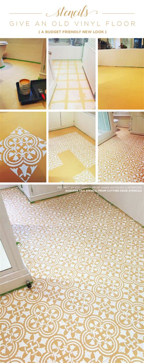 how to give new to an tile floor stencils give an vinyl floor a budget friendly new look