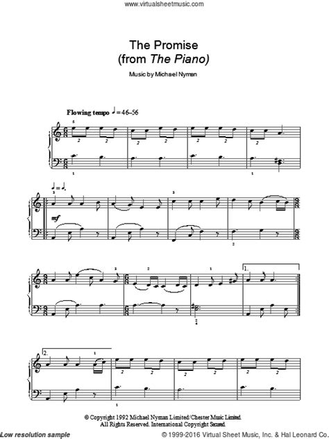 A Promise Film Piano | nyman the promise sheet music for piano solo